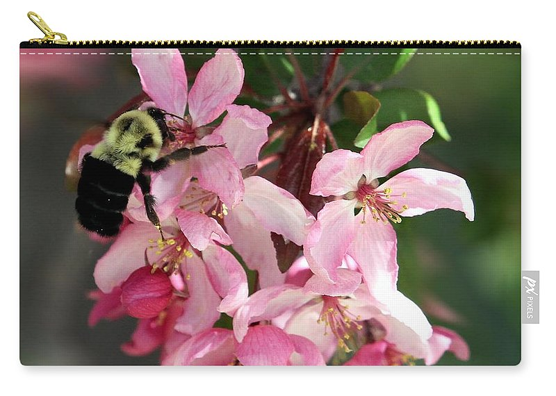 Cherry Blossom Carry-all Pouch featuring the photograph Buzzing Beauty by Elizabeth Winter