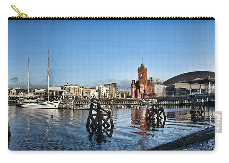 Cardiff Bay Panorama Carry-all Pouch featuring the photograph Cardiff Bay Panorama by Steve Purnell