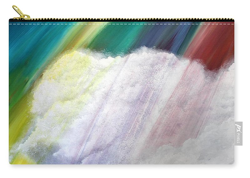 Clouds Carry-all Pouch featuring the painting Cloud Within Rainbow by Debbie Levene