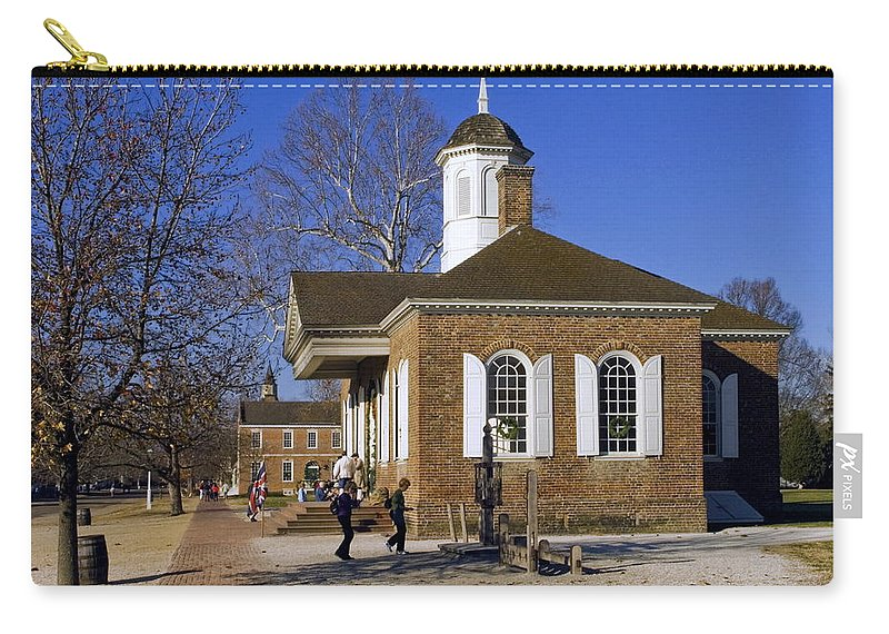 The Courthouse Carry-all Pouch featuring the photograph Colonial Williamsburg Courthouse by Sally Weigand