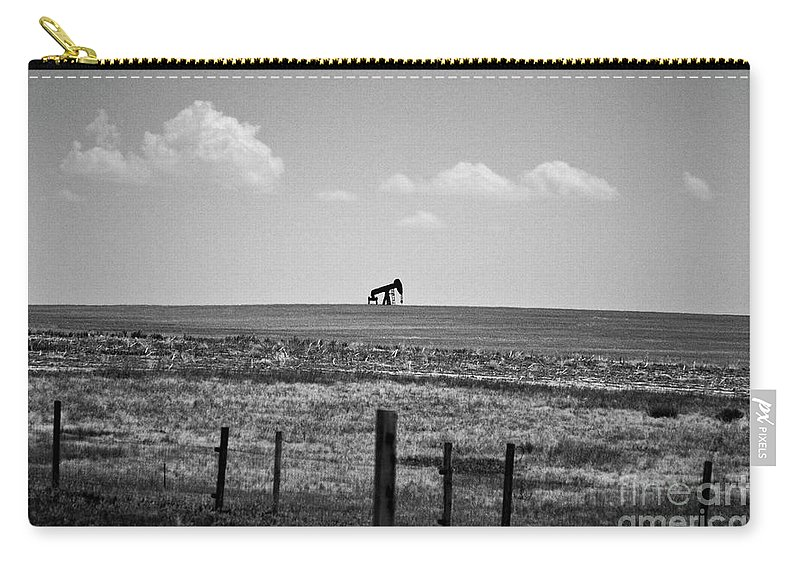 Oil Carry-all Pouch featuring the photograph Colorado Crude - Bw by Scott Pellegrin