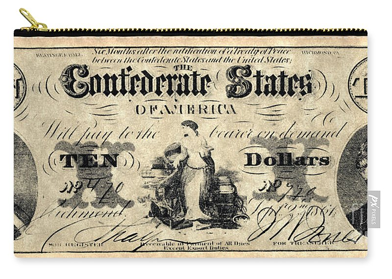 1861 Carry-all Pouch featuring the photograph Confederate Banknote by Granger