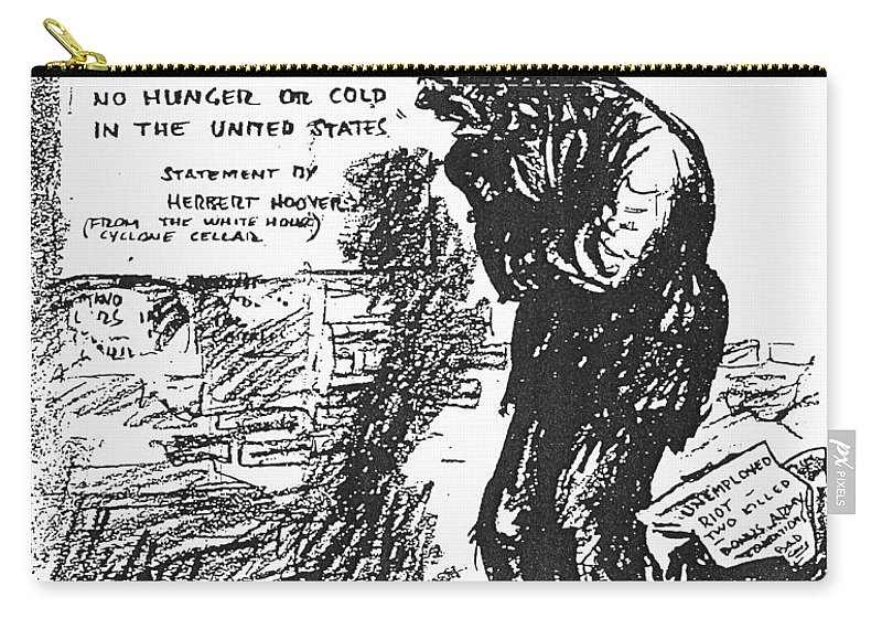 1932 Carry-all Pouch featuring the photograph Depression Cartoon, 1932 by Granger