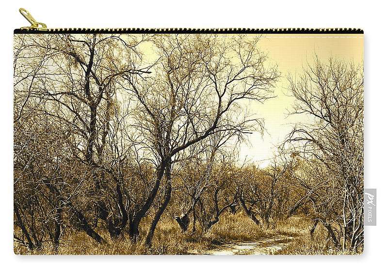 Sepia Carry-all Pouch featuring the photograph Desert Trail by Kume Bryant