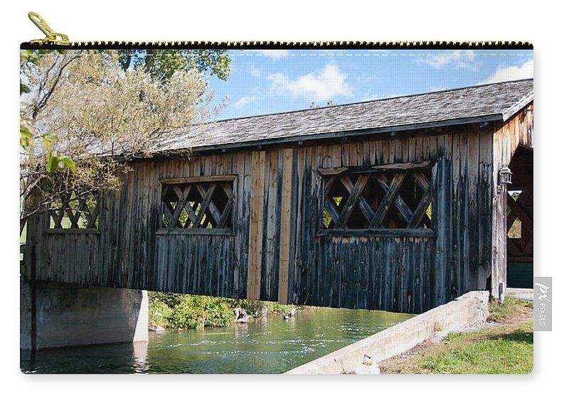 Bridges Carry-all Pouch featuring the photograph deShutes River Bridge by Guy Whiteley
