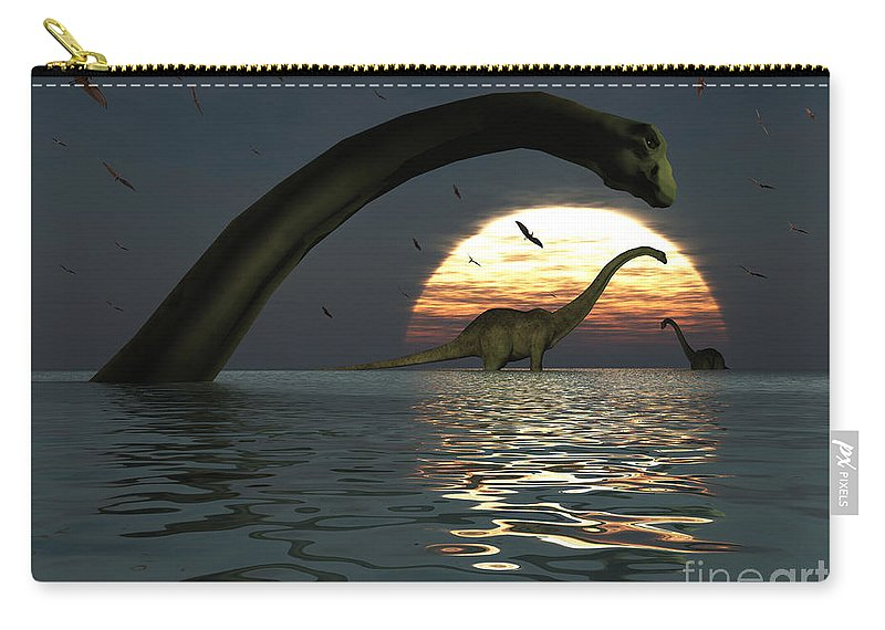 Digitally Generated Image Carry-all Pouch featuring the digital art Diplodocus Dinosaurs Bathe In A Large by Mark Stevenson