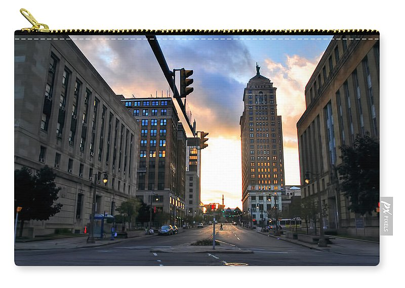 Carry-all Pouch featuring the photograph Early Morning Court Street by Michael Frank Jr