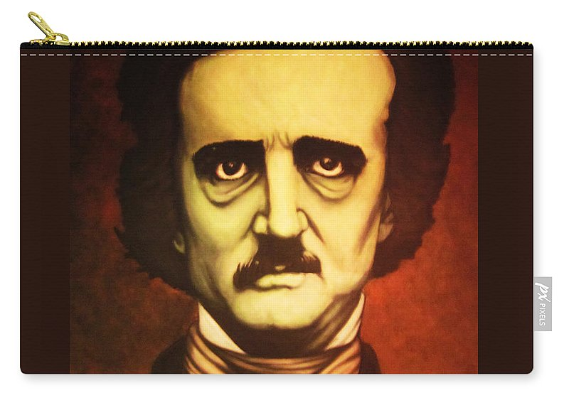 Edgar Allan Poe Carry-all Pouch featuring the painting Edgar Allan Poe by Justin Coffman
