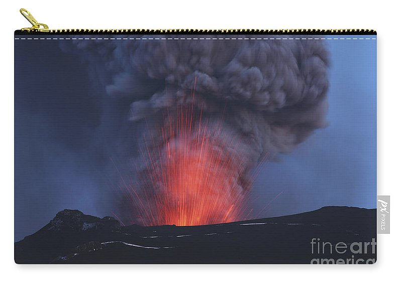 No People Carry-all Pouch featuring the photograph Eyjafjallajökull Eruption, Iceland by Martin Rietze