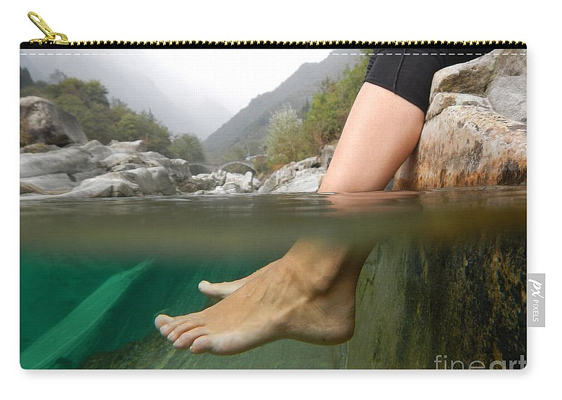 Feet Carry-all Pouch featuring the photograph Feet Under The Water by Mats Silvan