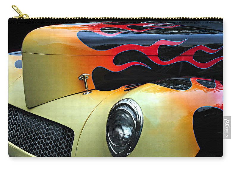 Custom Car Carry-all Pouch featuring the photograph Flames by Dave Mills
