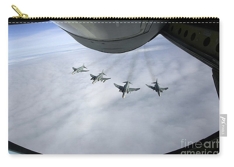 Germany Carry-all Pouch featuring the photograph Formation Of Luftwaffe F-4f Phantom IIs by Gert Kromhout