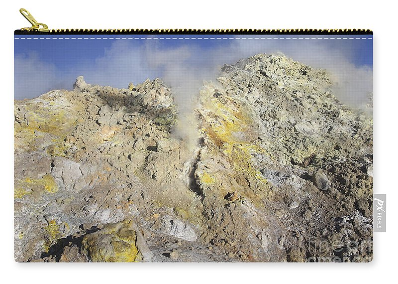 Lithology Carry-all Pouch featuring the photograph Fumaroles With Sulphur Deposits. Flank by Richard Roscoe