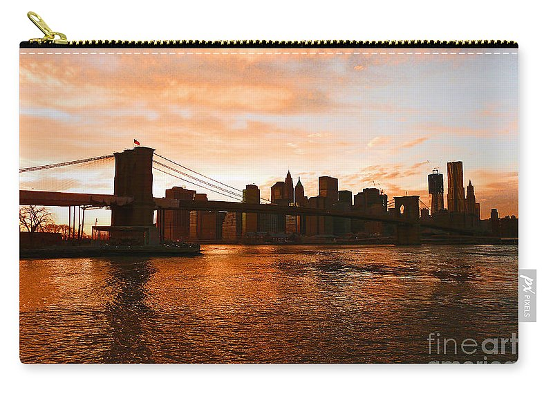 Brooklyn Bridge Carry-all Pouch featuring the photograph Golden Memories by Kendall Eutemey