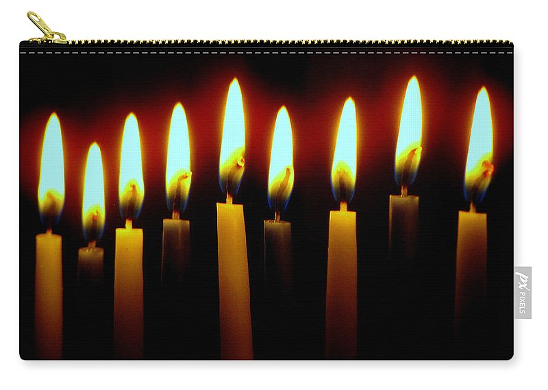 Candles Carry-all Pouch featuring the photograph 8 Crazy Nights by Lori Pessin Lafargue