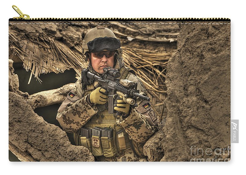 Operation Enduring Freedom Carry-all Pouch featuring the photograph Hdr Image Of A German Army Soldier by Terry Moore