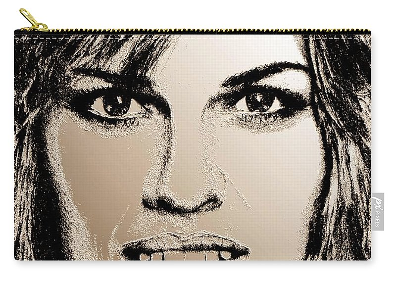 Hilary Swank Carry-all Pouch featuring the digital art Hilary Swank In 2007 by J McCombie