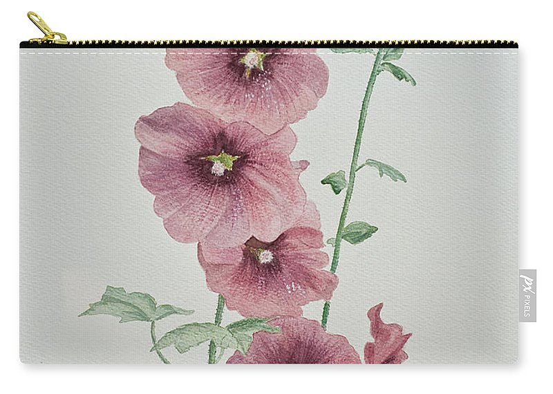 Hollyhocks Carry-all Pouch featuring the painting Hollyhocks by Barbara McMahon