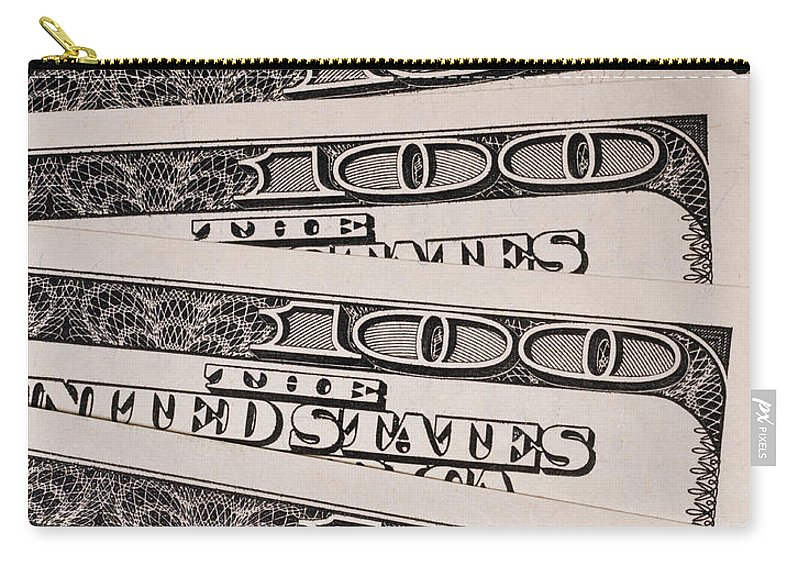 Accountant Carry-all Pouch featuring the photograph Hundred Dollar Bills by Joe Carini - Printscapes
