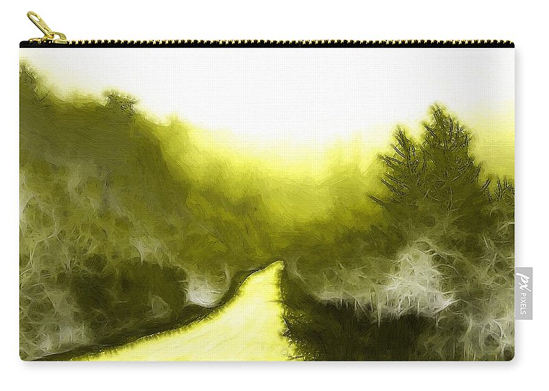 Forest Wood Way Path Painting Abstract Winter Autumn Fog Mist Misty Morning Carry-all Pouch featuring the painting In The Forest by Steve K