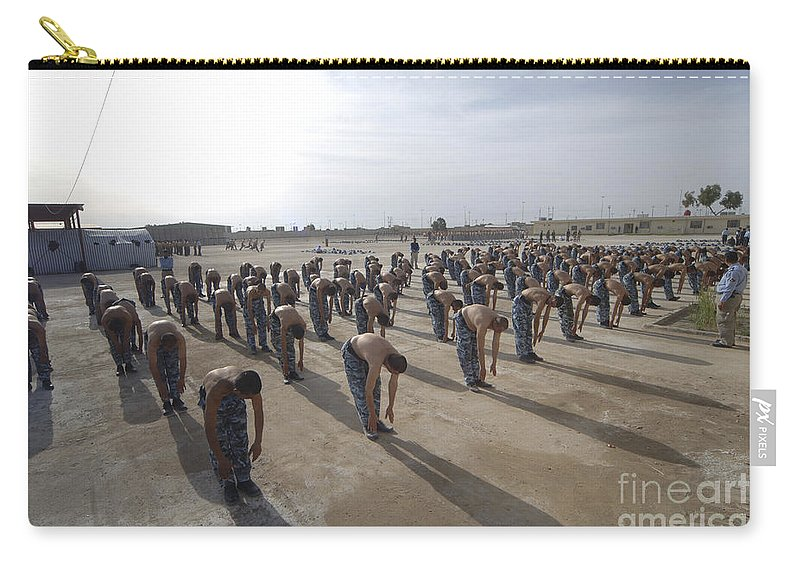 Police Officers Carry-all Pouch featuring the photograph Iraqi Police Cadets Being Trained by Andrew Chittock