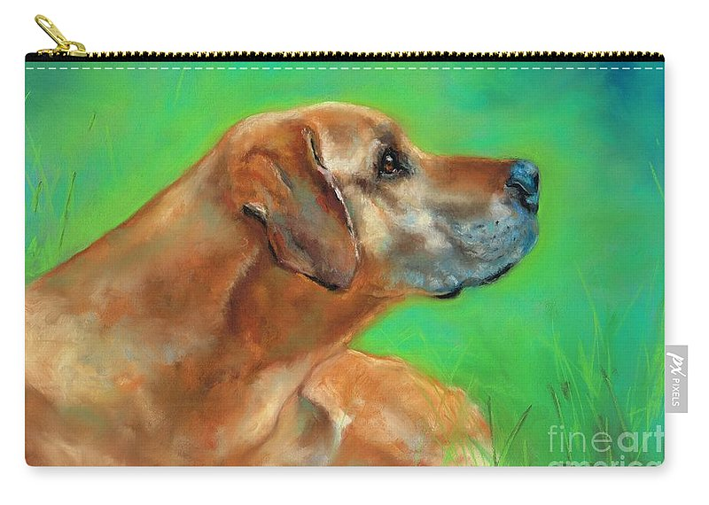 Dog Art Carry-all Pouch featuring the pastel Jasper by Frances Marino