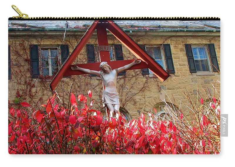Jesus Carry-all Pouch featuring the photograph Jesus' Flowers by Art Dingo