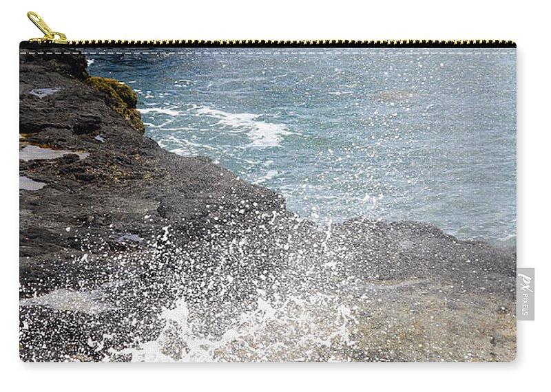 Kilauea Point Lighthouse Carry-all Pouch featuring the photograph Kauai Spray by Linda Dunn