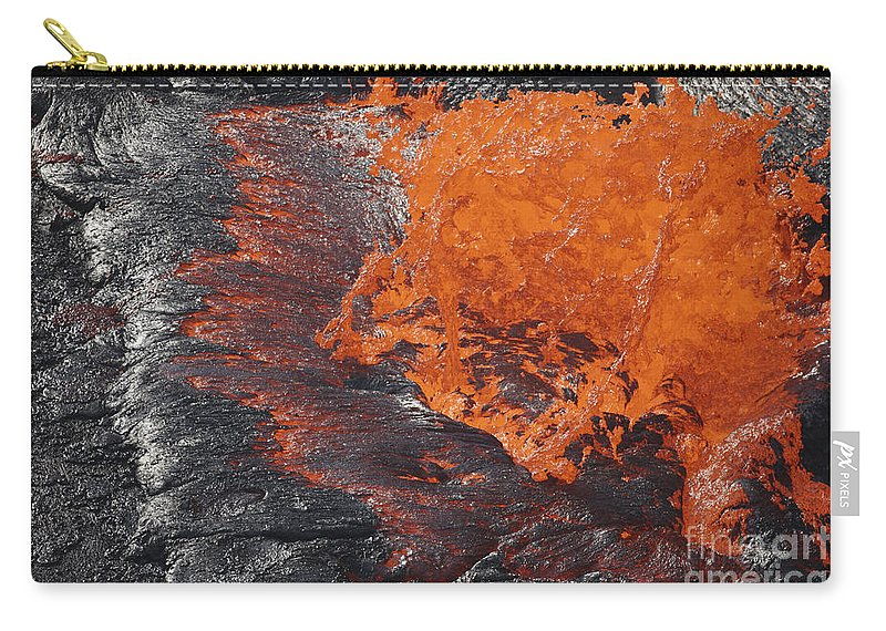 Nature Carry-all Pouch featuring the photograph Lava Bursting At Edge Of Active Lava by Richard Roscoe