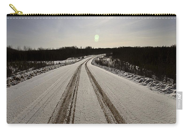 Snow Carry-all Pouch featuring the photograph Logging Road In Winter by Mark Duffy