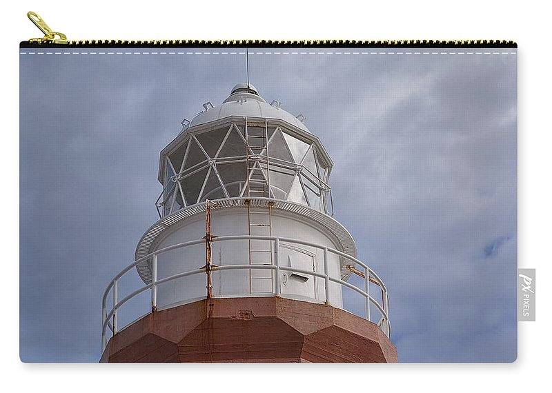 Lighthouse Beacon long Point Red White Sky Ocean Maritime Newfoundland crow Head Twillingate twillingate Island Carry-all Pouch featuring the photograph Long Point Lighthouse by Eunice Gibb