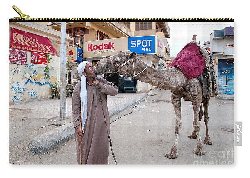 Africa Carry-all Pouch featuring the digital art Man With His Camel by Carol Ailles