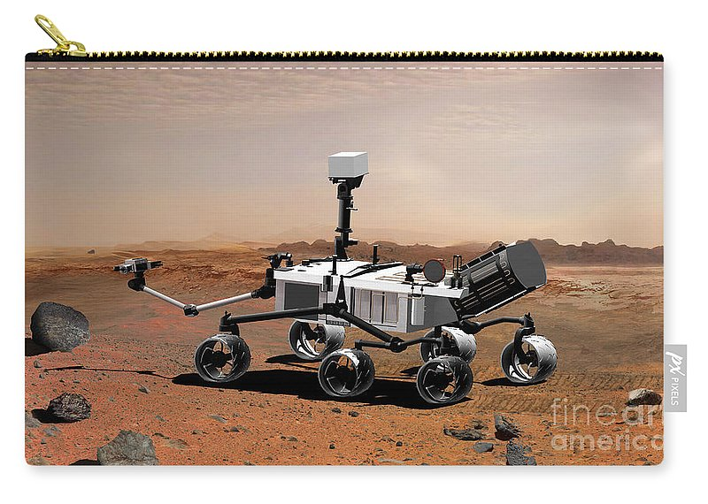 Collecting Carry-all Pouch featuring the digital art Mars Science Laboratory by Stocktrek Images