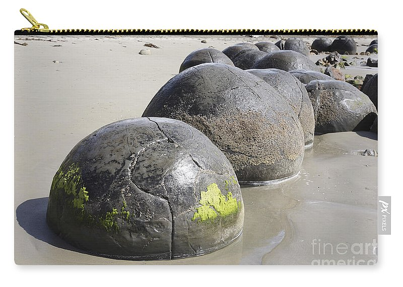 Beach Carry-all Pouch featuring the photograph Moeraki Boulders, Koekohe Beach, New by Richard Roscoe