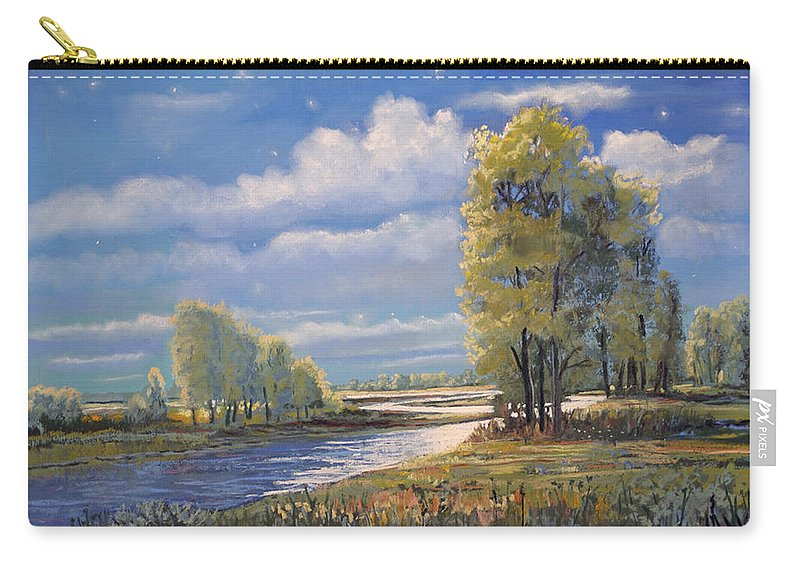 Moon Light On Clear Creek Carry-all Pouch featuring the painting Moonlight On Clear Creek by Heather Coen