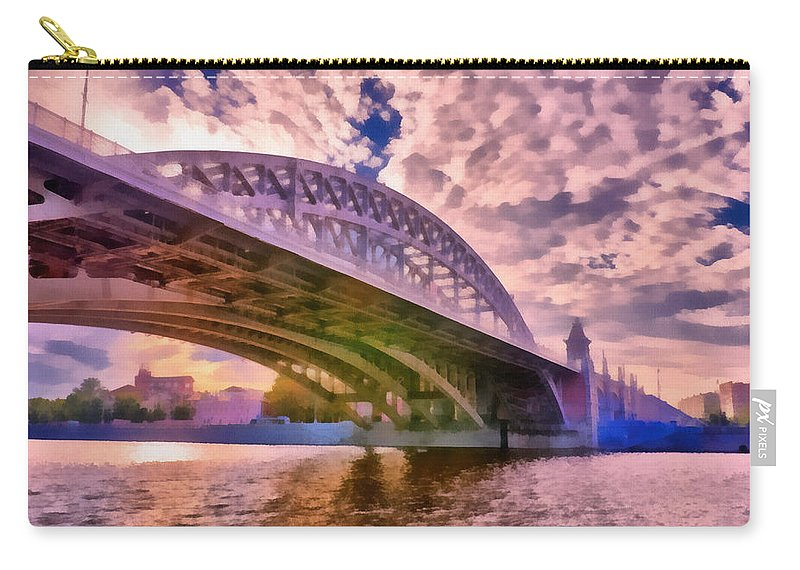 Art Carry-all Pouch featuring the photograph Moscow's Bridges by Michael Goyberg