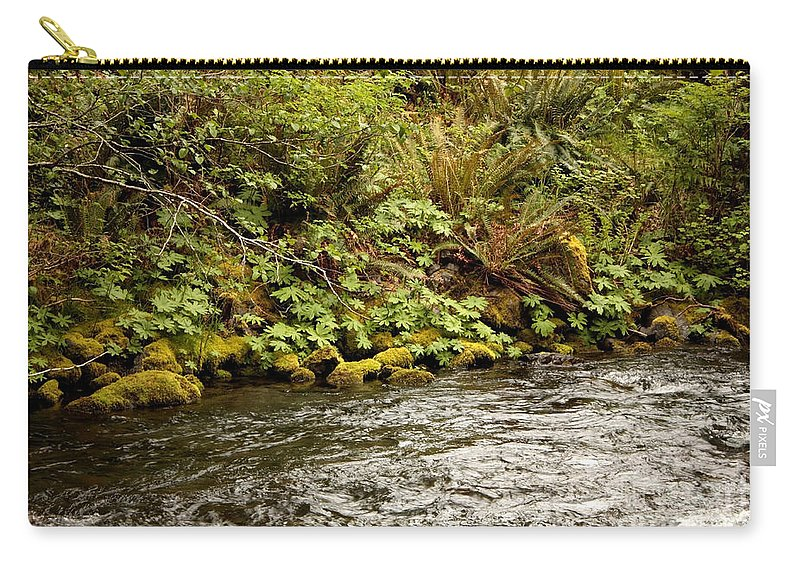Washington State Carry-all Pouch featuring the photograph Mossy Riverbank by Carol Groenen