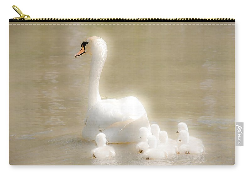 Swan Carry-all Pouch featuring the photograph Mother Swan And Her Cygnets by Shirley Tinkham