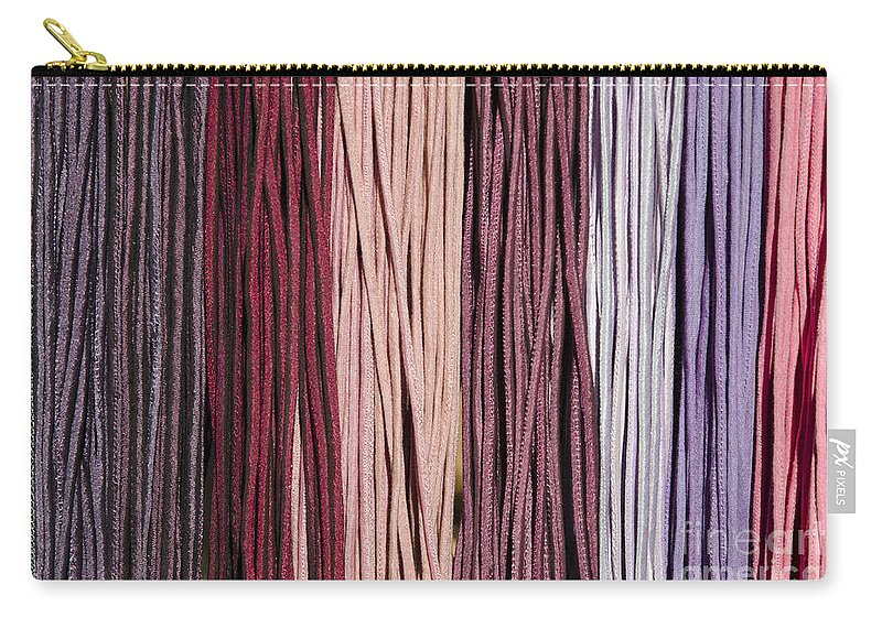 Multi-colored Carry-all Pouch featuring the photograph Multi-colored Striped Fabrics by Mats Silvan