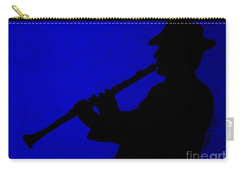 Jazz Carry-all Pouch featuring the drawing Music Man by Julie Brugh Riffey