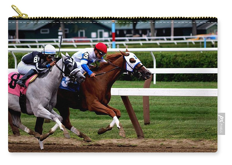 Horse Racing Carry-all Pouch featuring the photograph Neck And Neck At Saratoga One by Joshua House