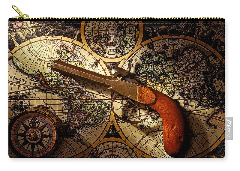 Old Gun Carry-all Pouch featuring the photograph Old Gun On Old Map by Garry Gay