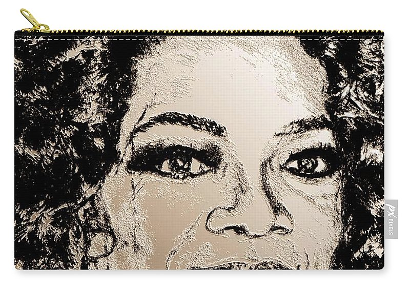 Oprah Winfrey Carry-all Pouch featuring the digital art Oprah Winfrey In 2007 by J McCombie