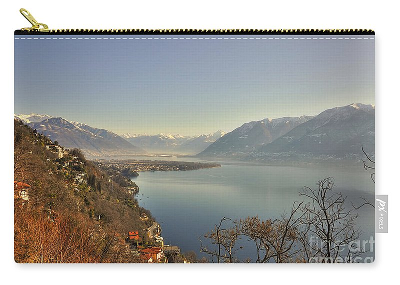 Panoramic View Carry-all Pouch featuring the photograph Panoramic View Over A Lake by Mats Silvan