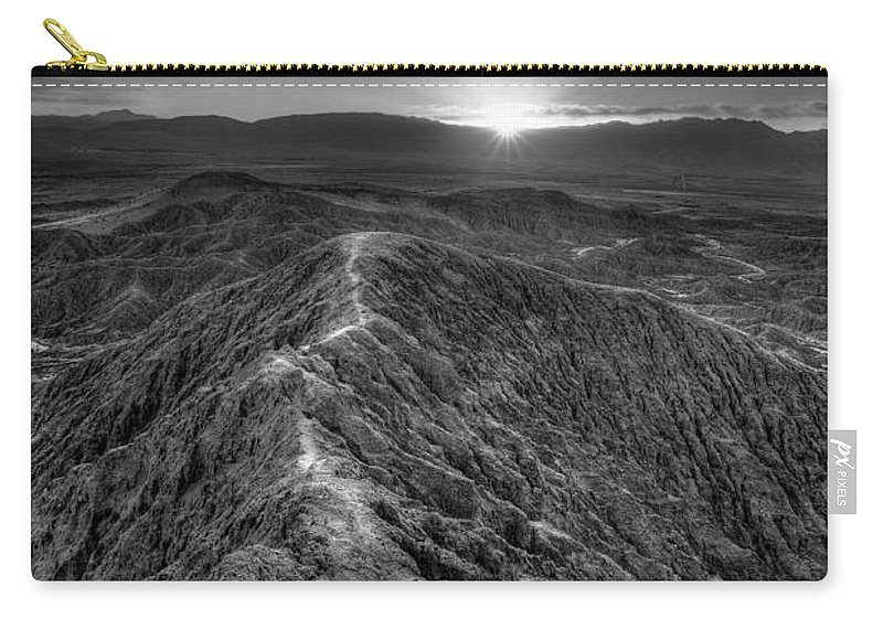 Anza-borrego Desert Carry-all Pouch featuring the photograph Path To The Sun  Black And White by Peter Tellone