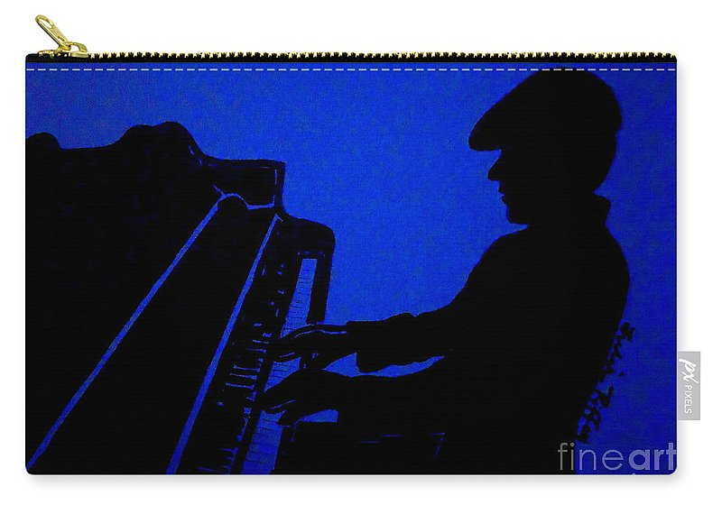 Jazz Carry-all Pouch featuring the drawing Piano Man by Julie Brugh Riffey