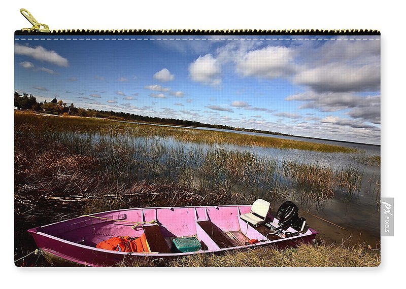 Life Jacket Carry-all Pouch featuring the photograph Pink Boat In Scenic Saskatchewan by Mark Duffy