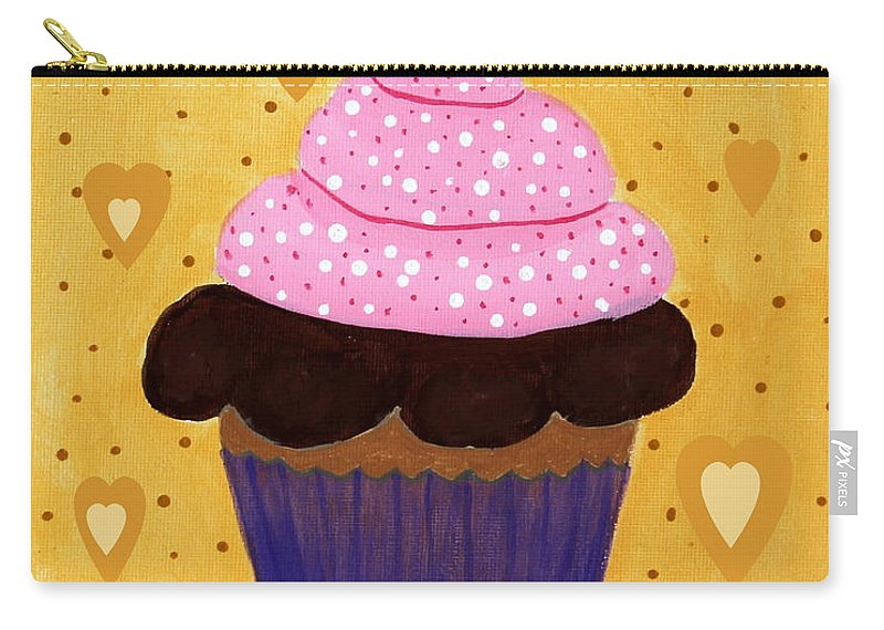 Pink Frosted Cupcake Carry-all Pouch featuring the painting Pink Frosted Cupcake by Barbara Griffin