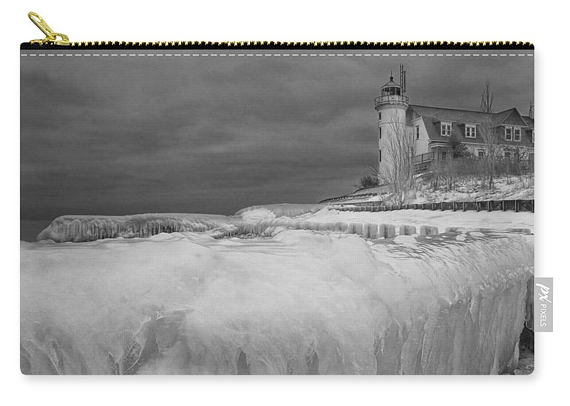Art Carry-all Pouch featuring the photograph Point Betsie Lighthouse In Winter by Randall Nyhof