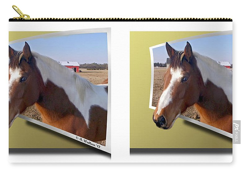 3d Carry-all Pouch featuring the photograph Pony Pose - Gently Cross Your Eyes And Focus On The Middle Image by Brian Wallace